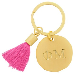 Phi Mu Sorority Tassel Gold Key Chain