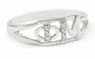 Phi Mu Sterling Silver Ring set with Lab-Created Diamonds