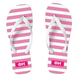 Phi Mu Striped Flip Flops