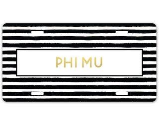 Phi Mu Striped Gold License Plate