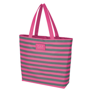 Phi Mu Stripes Tote Bag