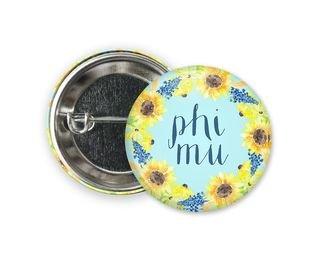 Phi Mu Sunflower Button