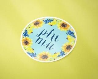 Phi Mu Sunflower Sticker Sticker