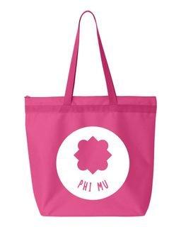 Phi Mu Symbol Circle Mascot Tote Bag