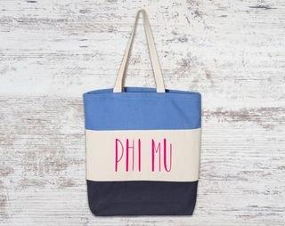 Phi Mu Tri Color Tote Bag
