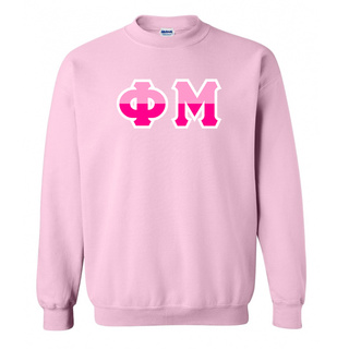 Phi Mu Two Tone Greek Lettered Crewneck Sweatshirt