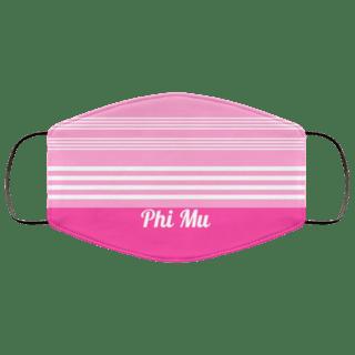 Phi Mu Two Tone Stripes Face Mask