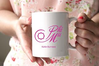 Phi Mu White Mascot Coffee Mug