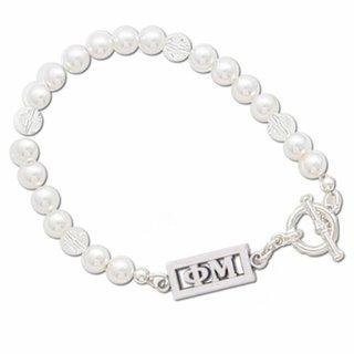 Phi Mu White Pearl & Clear Bracelet