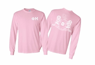 Phi Mu World Famous Crest Long Sleeve T-Shirt- MADE FAST!