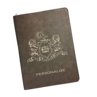 Phi Mu Zipper Leatherette Portfolio with Notepad