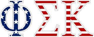 """Phi Sigma Kappa American Flag Greek Letter Sticker - 2.5"""" Tall"""