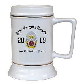 Phi Sigma Kappa Ceramic Crest & Year Ceramic Stein Tankard - 28 ozs!