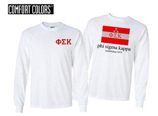 Phi Sigma Kappa Flag Long Sleeve T-shirt - Comfort Colors