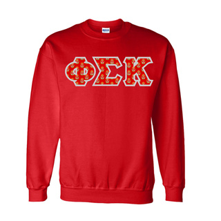 Phi Sigma Kappa Fraternity Crest - Shield Twill Letter Crewneck Sweatshirt
