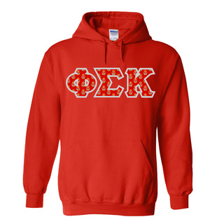 Phi Sigma Kappa Fraternity Crest - Shield Twill Letter Hooded Sweatshirt