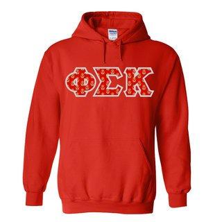 Phi Sigma Kappa Fraternity Crest - Shield Twill Letter Hooded Sweatshirt