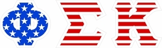 "Phi Sigma Kappa Giant 4"" American Flag Greek Letter Sticker"