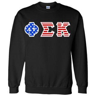 DISCOUNT-Phi Sigma Kappa Greek Letter American Flag Crewneck