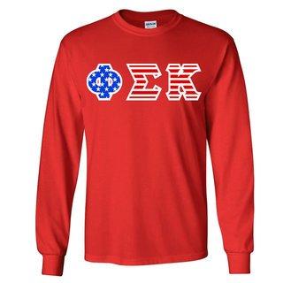 DISCOUNT-Phi Sigma Kappa Greek Letter American Flag long sleeve tee