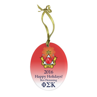 Phi Sigma Kappa Holiday Color Crest - Shield Glass Ornament