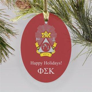 Phi Sigma Kappa Holiday Color Crest - Shield Ornament