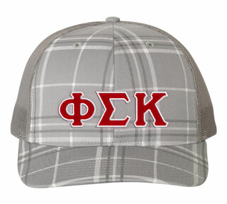 Phi Sigma Kappa Plaid Snapback Trucker Hat