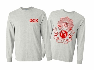 Phi Sigma Kappa World Famous Crest Long Sleeve T-Shirt- MADE FAST!