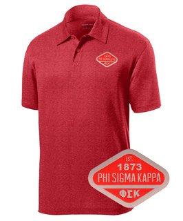 DISCOUNT-Phi Sigma Kappa Woven Emblem Greek Contender Polo