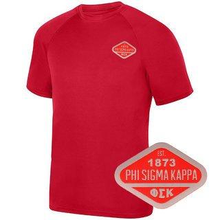 DISCOUNT-Phi Sigma Kappa Woven Emblem Greek Dry Fit Wicking Tee