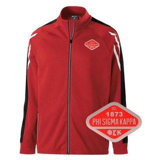 DISCOUNT-Phi Sigma Kappa Woven Emblem Greek Flux Track Jacket