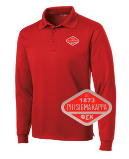 DISCOUNT-Phi Sigma Kappa Woven Emblem Greek Long Sleeve Dry Fit Polo