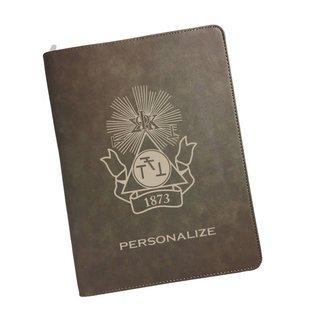 Phi Sigma Kappa Zipper Leatherette Portfolio with Notepad