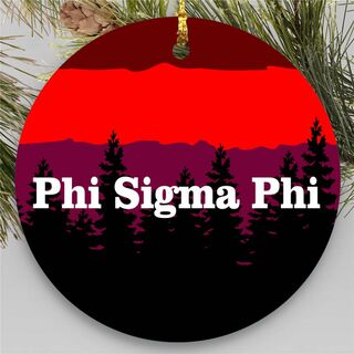 Phi Sigma Phi Christmas Mountains Round Ornaments