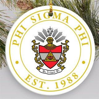 Phi Sigma Phi Circle Crest Round Ornaments