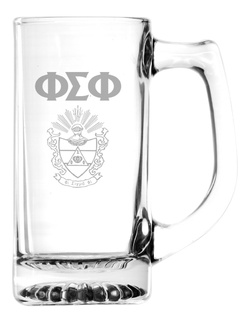Phi Sigma Phi Glass Engraved Mug
