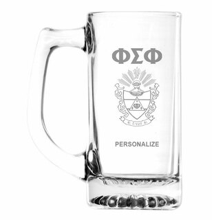 Phi Sigma Phi Glass Engraved Mug