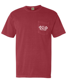 Phi Sigma Phi Greek Letter Comfort Colors Pocket Tee