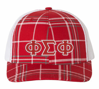 Phi Sigma Phi Plaid Snapback Trucker Hat - CLOSEOUT