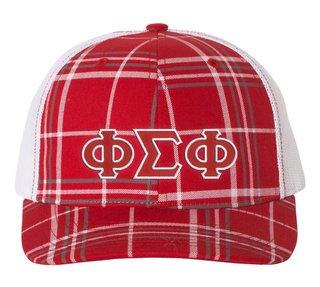 Phi Sigma Phi Plaid Snapback Trucker Hat