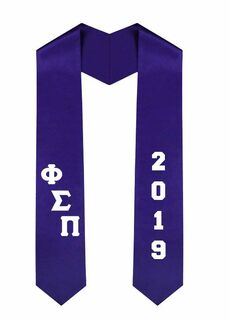 Phi Sigma Pi Greek Diagonal Lettered Graduation Sash Stole With Year