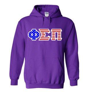 Phi Sigma Pi Greek Letter American Flag Hoodie