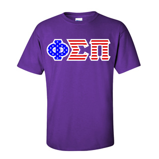 Phi Sigma Pi Greek Letter American Flag Tee