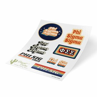 Phi Sigma Sigma 70's Sticker Sheet