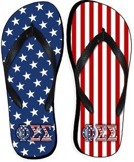 Phi Sigma Sigma American Flag Flip Flops