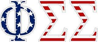 "Phi Sigma Sigma American Flag Greek Letter Sticker - 2.5"" Tall"