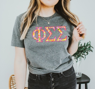 Phi Sigma Sigma Bright Flowers Lettered Short Sleeve T-Shirt