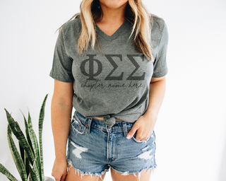 Phi Sigma Sigma Chapter V-Neck Tee