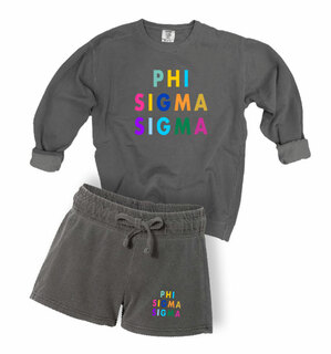 Phi Sigma Sigma Comfort Colors Crew and Short Set
