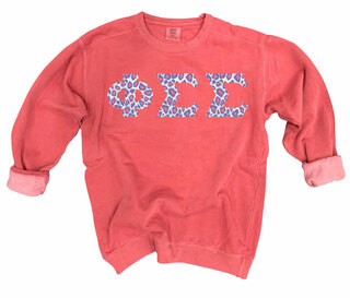 Phi Sigma Sigma Comfort Colors Lettered Crewneck Sweatshirt